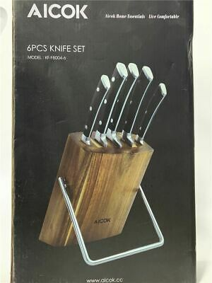Aicok Knife Set, Professional 6-Piece Knife Set with Wooden Block Germany High