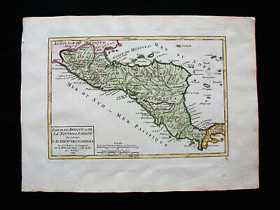 1749 VAUGONDY - orig. map of CENTRAL NORTH AMERICA, MEXICO, PANAMA, YUCATAN, USA
