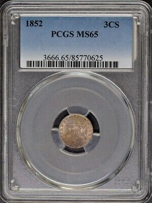 1852 3CS Three Cent Silver PCGS MS65