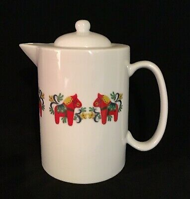Swedish Red Dala Horse Coffee Tea Pot Excellent Condition