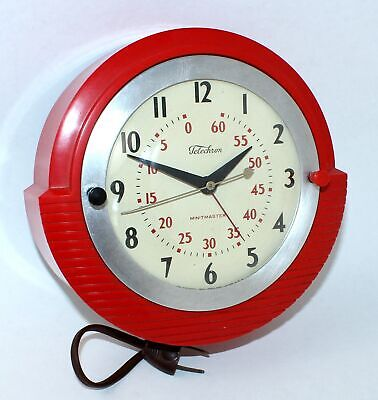 Vintage Red Telechron Electric Kitchen Wall Clock - Model 2H17 - Tb62