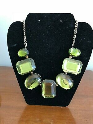 """Vintage antique 1940""""s classic green glass necklace retro jewelry brass"""