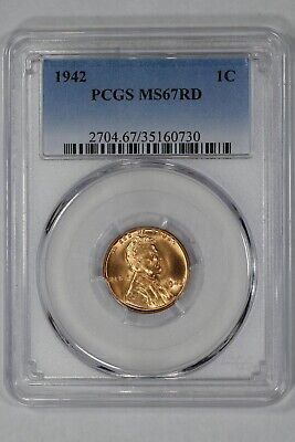 1942 Lincoln Wheat Cent Penny 1C Pcgs Certified Ms 67 Mint State Rd Red (730)