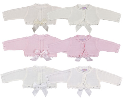 Baby girl BOW bolero cardigan Spanish style cable knit