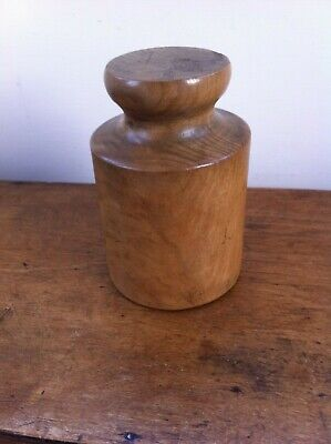 LOVELY LARGE DECORATIVE ANTIQUE WOODEN PORK PIE MOULD 5.7 inches