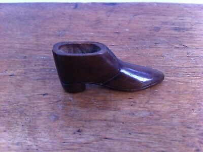 LOVELY SMALL DECORATIVE ANTIQUE BRASS INLAID WOODEN TREEN SHOE 2.5 inches
