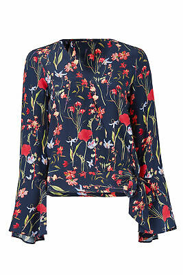 195c72ad05 Parker Blue Women s Size Small S Floral Print Bell Sleeve Blouse Silk  245-   948