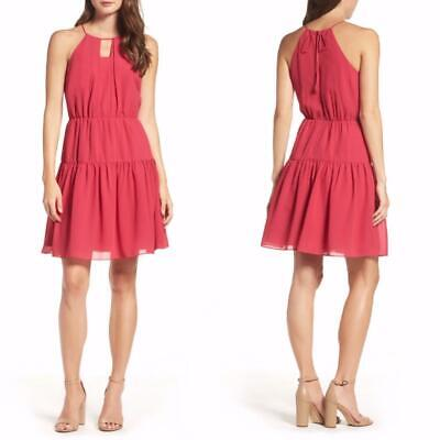 173f6c85a4f7 NEW CHELSEA28 Prairie FESTIVAL Pink Raspberry TIERED Fit & Flare RUFFLE  DRESS M