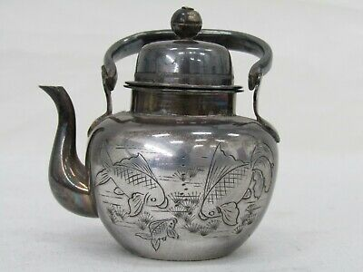 Vintage Asian Sterling Silver Etched Koi Fish Miniature Teapot Figurine