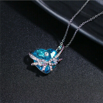 1Pcs Charms Crystal Rhinestone Heart Bow tie Pendant Necklace Mother's Day Gift