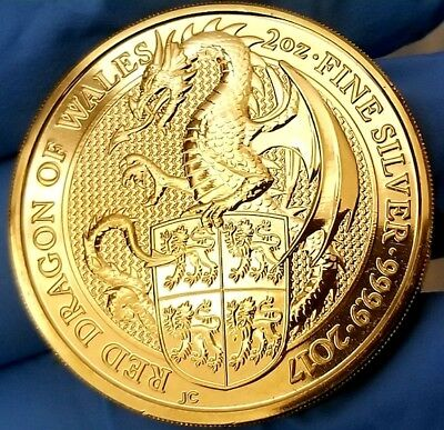 2017 Great Britain 2 oz Silver Queen's Beast Dragon Coin  24k Gold Gilded f