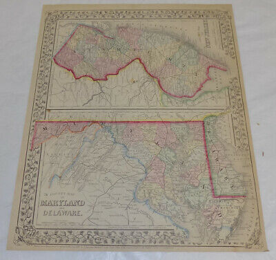 1867 Antique COLOR Mitchell Map of MARYLAND, DELAWARE, & NEW JERSEY