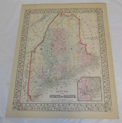 1867 Antique COLOR Mitchell Map of MAINE