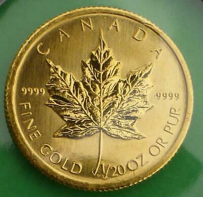 2003 Canada Maple Leaf 1/20 oz .9999 Fine Gold Dollar Coin, 1/20th oz Gold $1