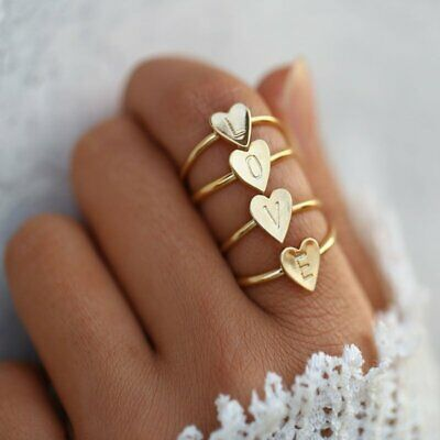 Letters A-Z Rings Heart Women DIY Alphabet Name Ring Wedding Party Jewelry Gifts
