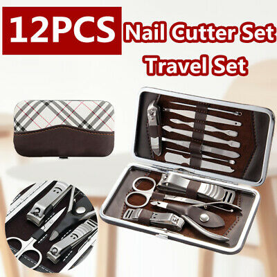 12PCS Pedicure Manicure Set Nail Clip Cleaner Cuticle Grooming Toenail Kit Case