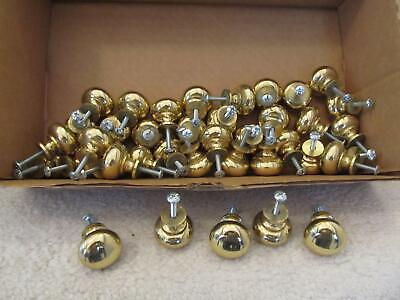 Lot of 39 Solid Polished Brass Round Kitchen Bath Drawer Cabinet Pull Knobs