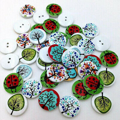 50Pcs/Pack Wood Tree Buttons Creative Pattern Round 2 Hole Mixed Color B