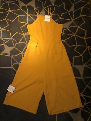 NEW GLAMOROUS MUSTARD CAMI CULOTTE CROPPED 3//4 WIDE LEG JUMPSUIT BOHO LOOK UK 12