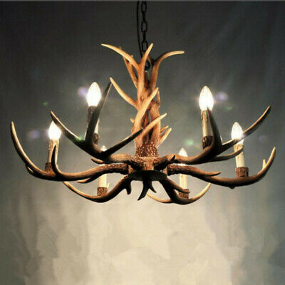 Retro 6 Heads Deer Antler Chandelier Light Horn Restaurant Dining Pendant Lamp