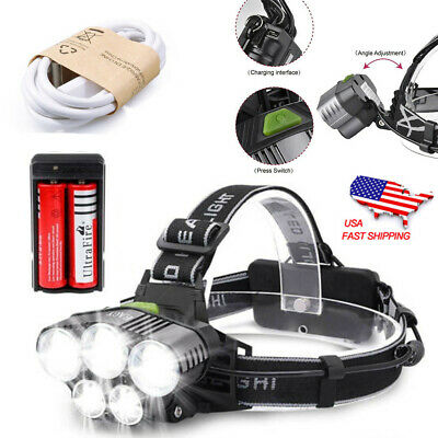 USB Rechargeable 90000LM 5X T6 LED Headlamp Head Light Torch Lamp 18650 Charger#