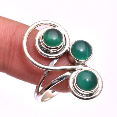 Rings Green Chalcedony Gemstone Handmade Silver Ring Size 8 e2682 Jewelry & Watches