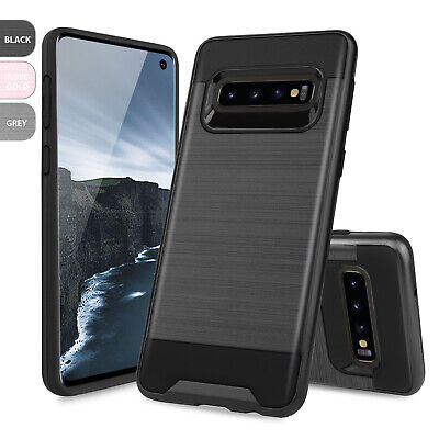 For Samsung Galaxy S10/S10+ Plus/S10e Brushed Armor Rubber Hard Phone Case Cover