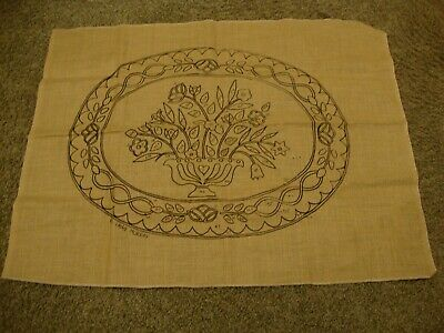 Claire Murray Floral Urn Hooked Rug Jute Canvas 35 x 26 in