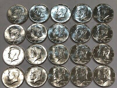 ROLL of 20 BU 1964 Kennedy 90% silver half dollar coins. (lot#11)
