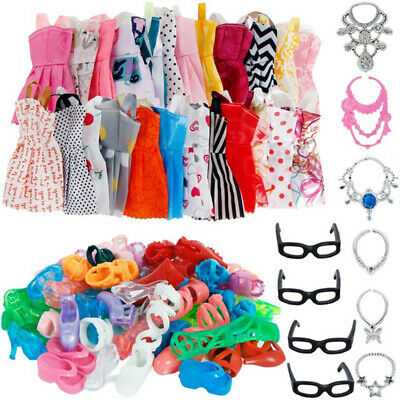 10xDolls Dresses+6xnecklace+4xglasses Clothes Skirt For Barbie Doll new 20pcs