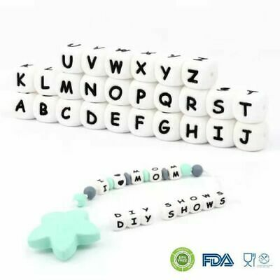 5PC Letter Silicone Beads Baby Teether Bead Chewing DIY Teething Necklace