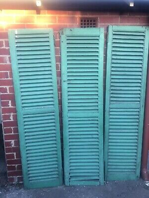 Set of 3 19th Century Painted French Pine Louvres/Window Shutters Industrial