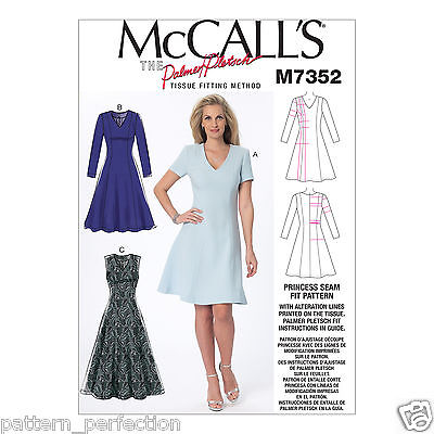 08d811c9e9220 McCall's 7352 Sewing Pattern to MAKE Misses' Jewel or V-Neck Flare Dress SZ