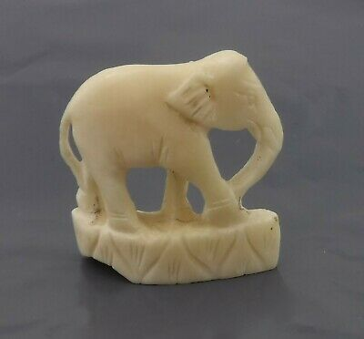 Small Vintage Hand Carved Bone Figure of an Elephant - Probably Chinese