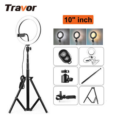 "10"" LED Ring Light and Stand Dimmable LED Lighting Kits For Makeup Youtube Live"