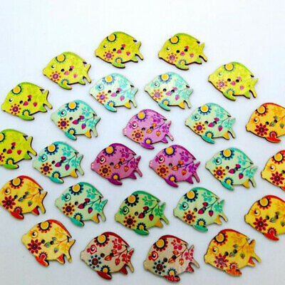 50PCs Wooden Mixed Fish Pattern Decorative Buttons 2 Holes Sewing Craft B