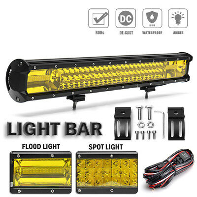 22 Inch Tri-Row 648W Work Light Bar Combo Beam For Offroad 4WD SUV Truck NF