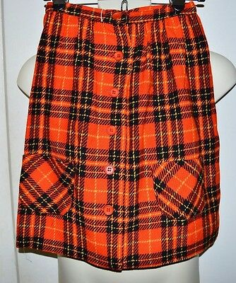 Vintage NWT PANDORA Costume Maker Orange Black Plaid Wool Blend Skirt Size 10