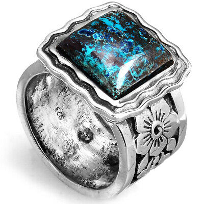 Sterling Silver Big Azurite Ring with Stone Flowers Chunky Handmade Size 7 8 9