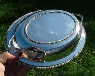"""ANTIQUE QUALITY SILVER PLATED OVAL LIDDED ENTREE SERVING DISH 10.85 x8.25 x3.25"""""""