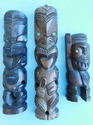 A Fine Trio of Older Maori Tiki Carvings NZ New Zealand Oceanic Art