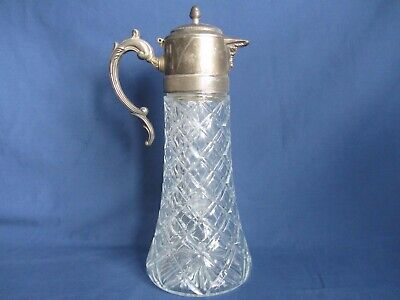 "Vintage Pressed Glass Silverplate Water Ice Tea 14"" Pitcher Decanter Ice Insert"