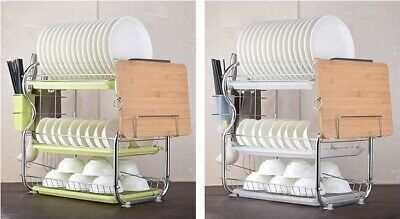 3-Tier Stainless Carbon Steel Kitchen Tableware Dish Drying Storage Rack 3 Tray