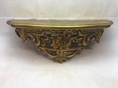 Vintage SYRACO STYLE Gold WALL SHELF Hanging HOLLYWOOD REGENCY Brass Color