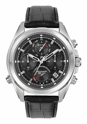 Bulova 96B259 Men's Precisionist Black Dial Black Leather Strap Chronograph Watc