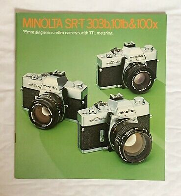 Minolta SR-T 303b & 101b and 100x 35mm Film Cameras,  8 x 8 in Product Brochure