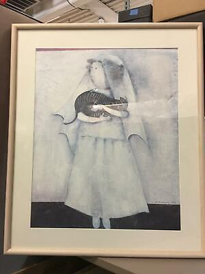 BRIDE & STRIPED CAT Vintage Lithograph Graciela Rodo Boulanger Art Framed