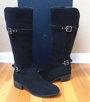 6b94fe4a6b9a3 COLE HAAN 'Indiana' Black Waterproof Suede Tall Boots w Buckles Size 9.5M  NEW