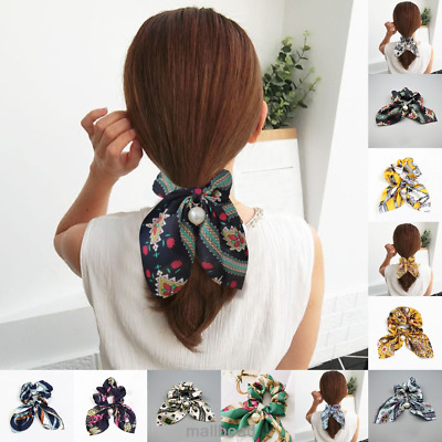 Women Chic Bow Knot Hair Rope Ring Tie Scrunchie Ponytail Holder Pearl Elegant