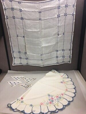 2 Table cloths  4 napkins cotton embroidered round square Handmade mid Century